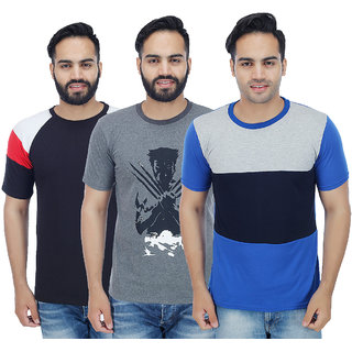 Sanvi Traders- Multi Round T-Shirt Pack of 3