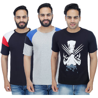 Sanvi Traders- Multi Round T-Shirt Pack of 3