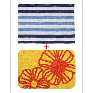 Combo of Saral Home Soft Cotton Bathmat  Floor Rugs Set of 2 pc