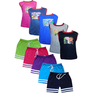 Jisha Fashion (RKGSBER) Boys Sleeveless Tshirt  Bermuda Set( Combo of 5 )