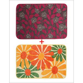 Combo of Saral Home Soft Cotton Bathmat  Anti Slip Floor Mat Set of 2 pc