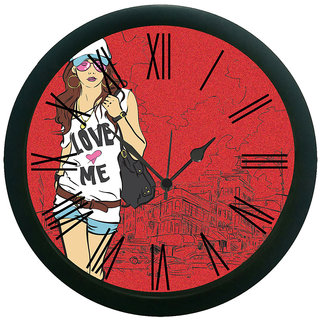 meSleep Red Girl Wall Clock (With Glass)