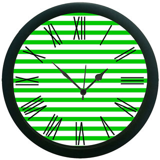 meSleep Green Stripes Wall Clock (With Glass)