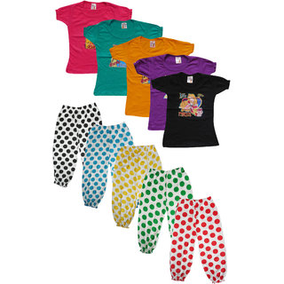 Jisha Fashion Girls Top and Capri Set (JAYATIPKI)(Pack of 5 )