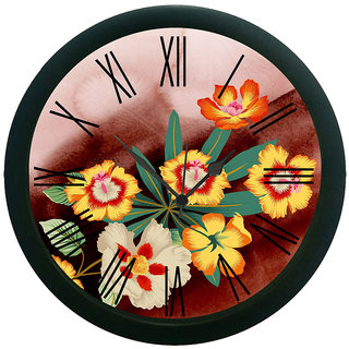 meSleep Magnificent Flowers Wall Clock (With Glass)
