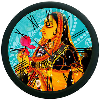 meSleep Rose Lady Blue Wall Clock (With Glass)