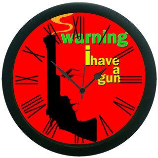 meSleep Red Gun Wall Clock (With Glass)