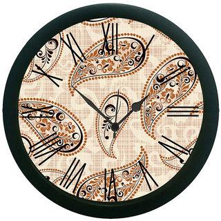 meSleep Beige Paisley Wall Clock (With Glass)