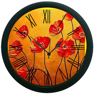 meSleep Painted Flower Wall Clock (With Glass)