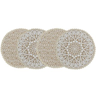 Saral Home Decorative Jute Printed Table Mat (Pack of 4 pc, 38x38 cm)