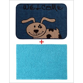 Combo of Saral Home Soft Cotton Bathmat  Jute Doormat Set of 2 pc