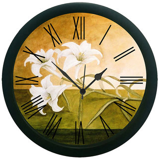 meSleep Painted Flowers Wall Clock (With Glass)
