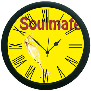 meSleep Yellow Soul mate Wall Clock (With Glass)