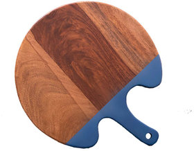 Round Wooden Chopping Board with Silicon Handle