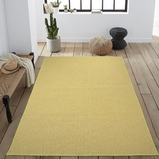 Saral Home Premium Quality Modern Jute n Cotton Made Floor Carpet- 150x210 cm