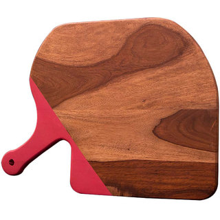 Wooden Chopping Board with Pink Rubber Handle