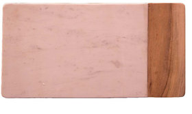 White Marble & Wood Flat Chopping Board