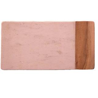 White Marble & Wood Flat Chopping Board