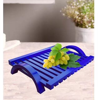 Onlineshoppee Hand-crafted Premium Quality MDF Fruit  Vegetable Tray - Blue