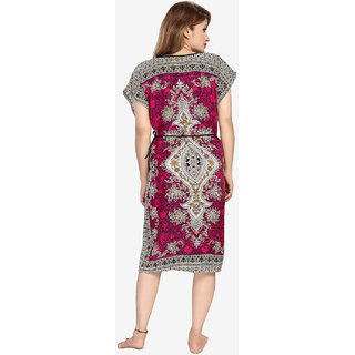 673d0a4925 Buy Be You Cotton Rayon Maroon Tribal Printed Kaftan Nighty for ...