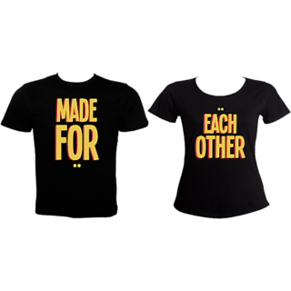 We 2 Black Printed Round Neck Couple Combo- Made for Each Other