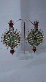 Pearl bead earings with Meena backside