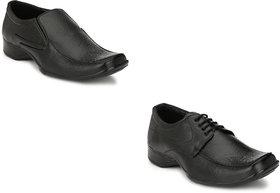 Groofer Men's Black Slip on or Lace up Formal Shoes combo