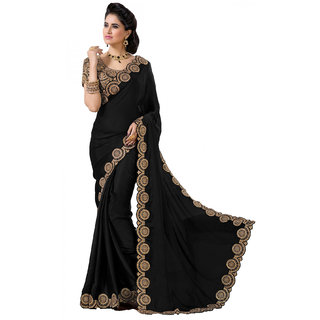 Bhavna creation Black Georgette Embroidered Saree With Blouse