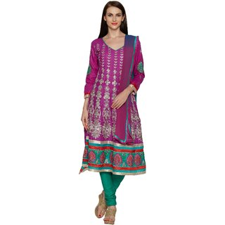 Aaina Purple Chanderi Cotton Embroidered Dress Material (SB-3351) (Unstitched)