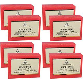 Khadi Pure Herbal Rose Water Soap - 125g (Set of 8)