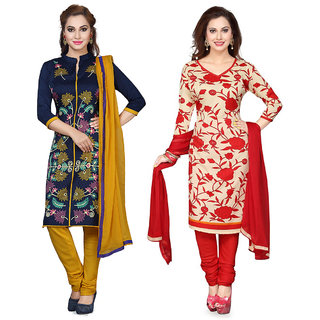 Multicolour Crepe Printed Unstitched Dress Material Pack Of- 2