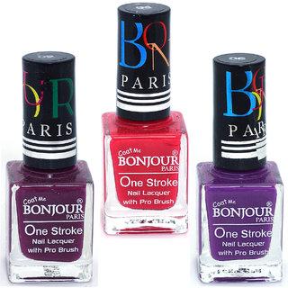 Coat Me Bonjour Paris True Color Nail Polish - Purple / Red Pack of 3 (0.90 Oz)