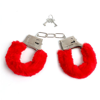 Red furry Hot lovely handcuffs for Lovers Gift for her  him Honeymoon Romance