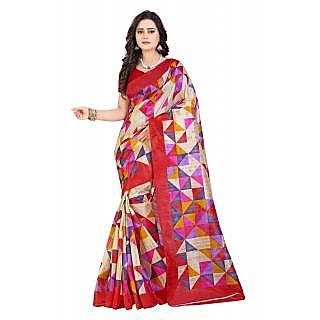 Krishnam Fashion Red Cotton Printed Saree With Blouse
