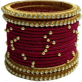 Buy Red And Gold Colored Silk Thread Bangles Online 550 From Shopclues