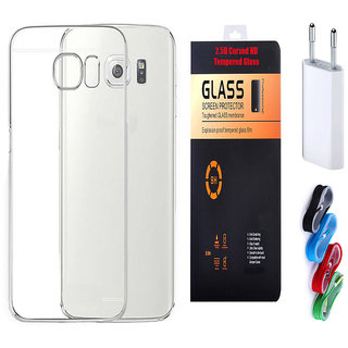 Samsung Galaxy A5 Soft Transparent TPU Back Cover with 9H Tempered Glass and Nylon USB Travel Charger