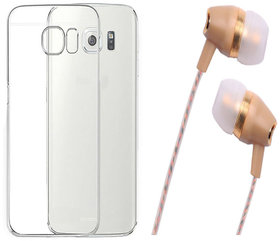 Samsung Galaxy S6 Edge Plus Soft Transparent TPU Back Cover with Fragrant Noise Cancellation Earphones with Mic