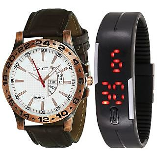 Crude Smart Combo Analog and Digital Watch-rg558 With Multi Strap for - Mens Boys