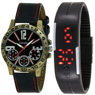 Crude Smart Combo Analog and Digital Watch-rg560 With Multi Strap for - Men's  Boy's