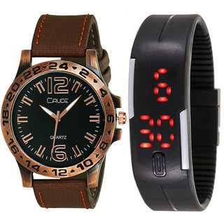 Crude Smart Combo Analog and Digital Watch-rg561 With Multi Strap for - Men's  Boy's