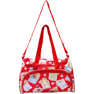 Wonderkids Teddy Print Baby Diaper Bag Waterproof Easy To Carry Red