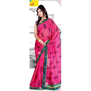 Rani Pink Color Contrast Bandhani Border With Heavy Embroidered Pallu Saree
