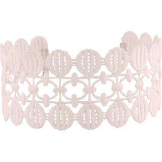 Jazz Jewellery White Lace Broad Crochet Choker Necklace for Women and Girls