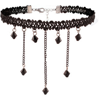 Jazz Jewellery 90s Gothic Style Black Lace Beaded Multi Stranded Tassel Chain Choker Necklace For Girls