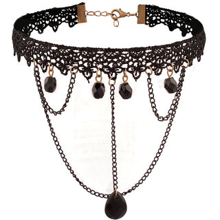 Jazz Jewellery Retro Style Black Lace Beaded Multi Stranded Criss Cross Chain Choker Necklace For Girls
