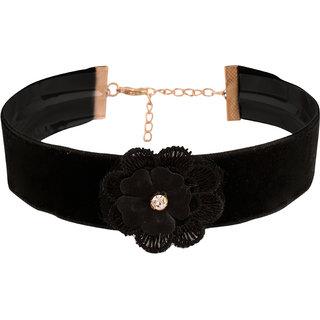 Jazz Jewellery Retro Gothic Style Black Velvet Floral Choker Necklace For Women Girls
