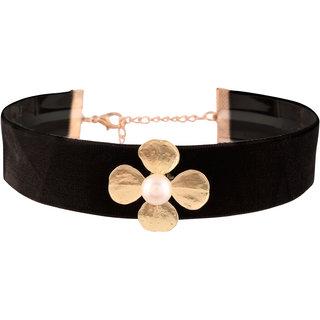 Jazz Jewellery Retro Gothic Style Black Velvet Flower Choker Necklace For Women Girls