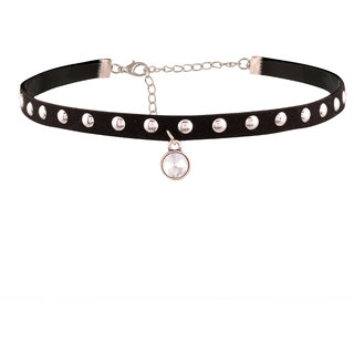 Jazz Jewellery Black with Silver Rivets Punk Choker Necklace for Women