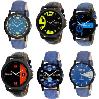 COMBO'S RADIUS 6 PCS DENIM ANALOG CASUAL WATCH FOR MEN'S