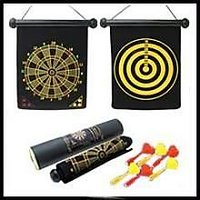 Safety Magnetic Dart Board With 2 Darts Double Sided Dartboard 9.5 Inch Rol.